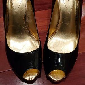 Guess Black Patent Leather Peep Toe Pumps